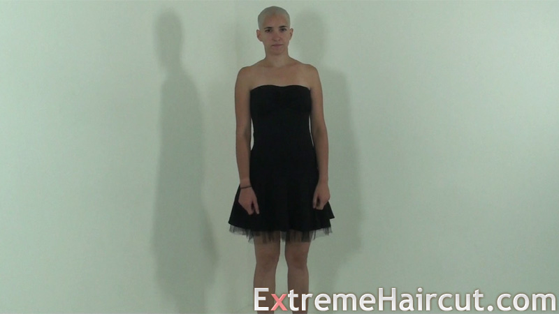 Bald girl wears sexy clothes