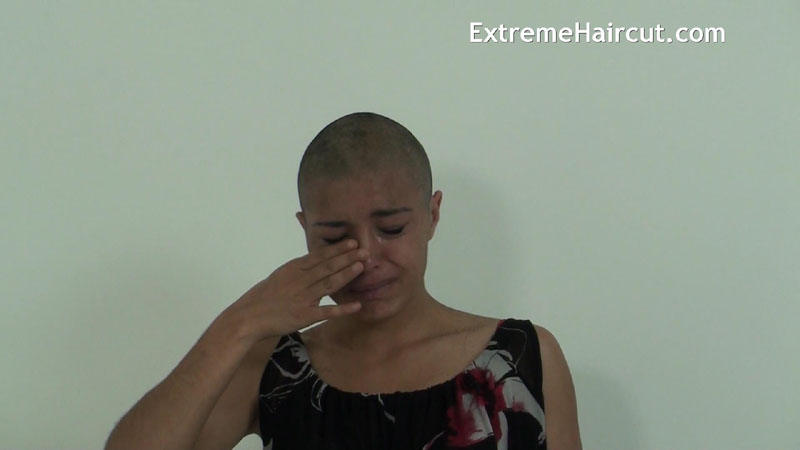 bald girl cry